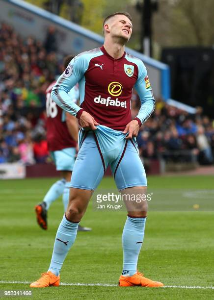 Johann Gudmundsson of Burnley reacts after a miss during the Premier League match between Burnley and Brighton and Hove Albion at Turf Moor on April...