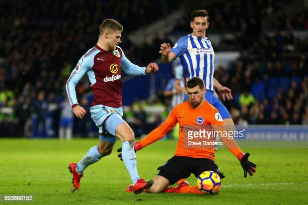 Johann Gudmundsson of Burnley takes the ball past Mathew Ryan of Brighton and Hove Albion during the Premier League match between Brighton and Hove...