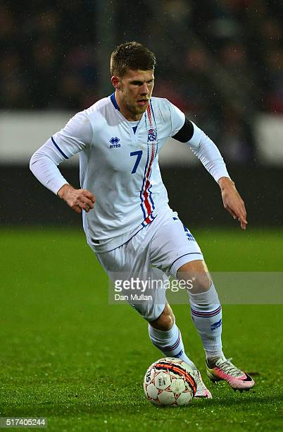 Johann Gudmundsson of Iceland controls the ball during the International Friendly match between Denmark and Iceland at the MCH Arena on March 24 2016...