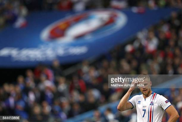 Johann Gudmundsson of Iceland during the UEFA Euro 2016 quarter final match between France and Iceland at Stade de France on July 3 2016 in Paris...