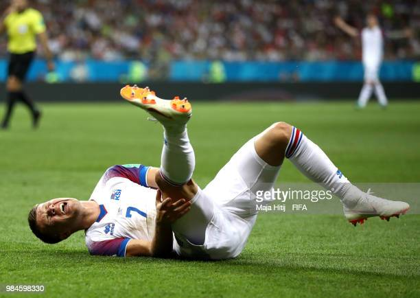Johann Gudmundsson of Iceland goes down injured during the 2018 FIFA World Cup Russia group D match between Iceland and Croatia at Rostov Arena on...
