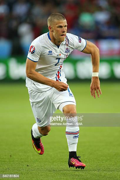 Johann Gudmundsson of Iceland in action during the UEFA EURO 2016 Group F match between Portugal and Iceland at Stade GeoffroyGuichard on June 14...