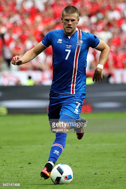 Johann Gudmundsson of Iceland in action during the UEFA EURO 2016 Group F match between Iceland and Austria at Stade de France on June 22 2016 in...