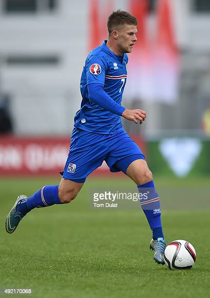 Johann Gudmundsson of Iceland in action during the UEFA EURO 2016 Qualifier match between Iceland and Latvia at Laugardalsvollur National Stadium on...