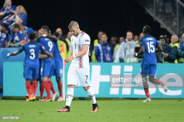 Johann Gudmundsson of Iceland looks dejected during the UEFA Euro 2016 Quarter Final between France and Iceland at Stade de France on July 3 2016 in...