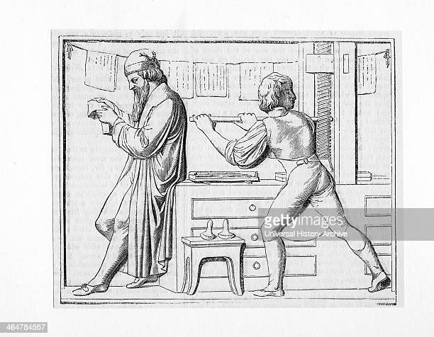 Johann Gutenberg reading proofs while his assistant works the printing press Woodcut after bas relief on Gutenberg's tomb German goldsmith and...