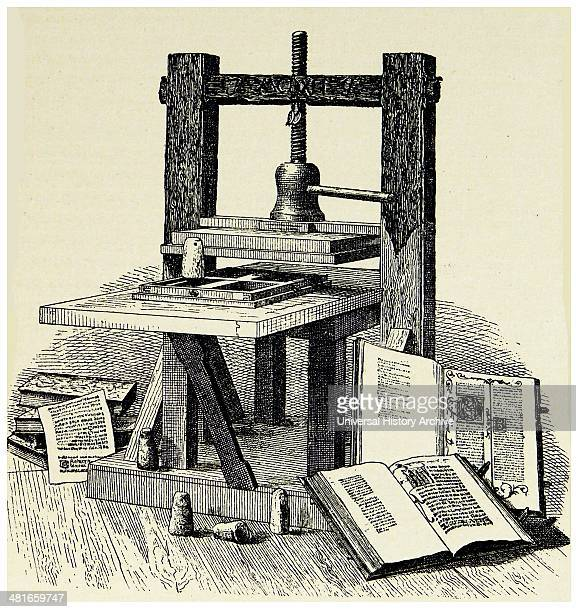 Johann Gutenberg's first printing press Engraving published Mainz 1856