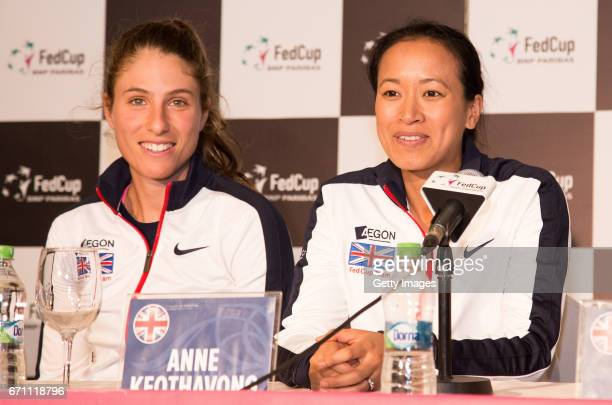 Johann konta and Anne Keothavong speak following a Great Britain Fed Cup training session at Tenis Club IDU on April 21 2017 in Constanta Romania