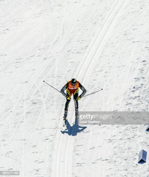 Johann Muehlegg of Spain races in the Men's 30 kilometer Free Mass Start race of the Cross County Skiing competition of the 2002 Winter Olympic Games...