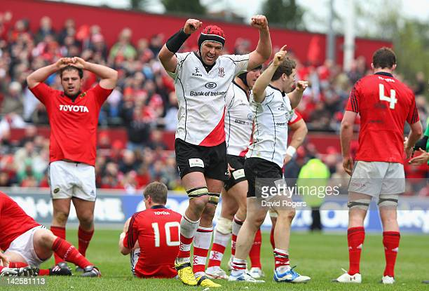 Johann Muller, the Ulster captain celebrates his teams victory during the Heineken Cup quarter final match between Munster and Ulster at Thomond Park...