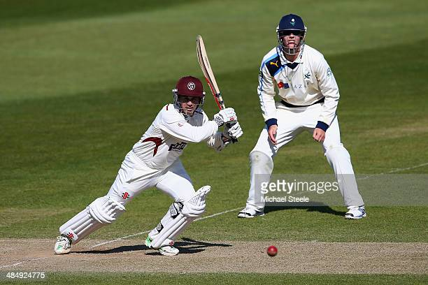 Johann Myburgh of Somerset plays to the offside as Alex Lees of Yorkshire looks on during day three of the LV County Championship match between...