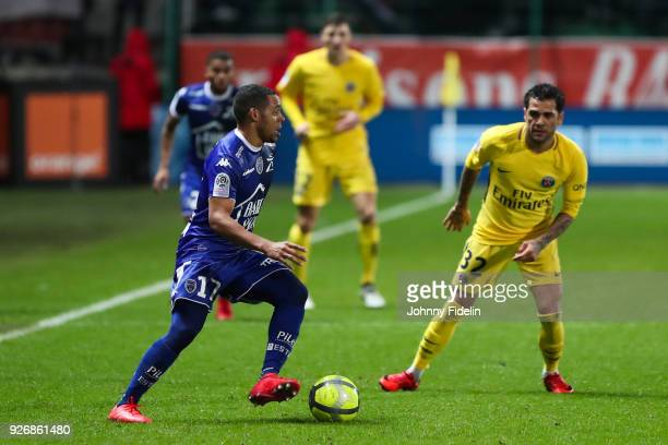 Johann Obiang of Troyes and Dani Alves of PSG during the Ligue 1 match between Troyes AC and Paris Saint Germain at Stade de l'Aube on March 3 2018...