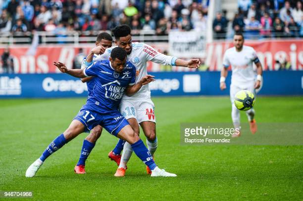 Johann Obiang of Troyes and Jordan Amavi of Marseille during the Ligue 1 match between Troyes Estac and Olympique de Marseille at Stade de l'Aube on...