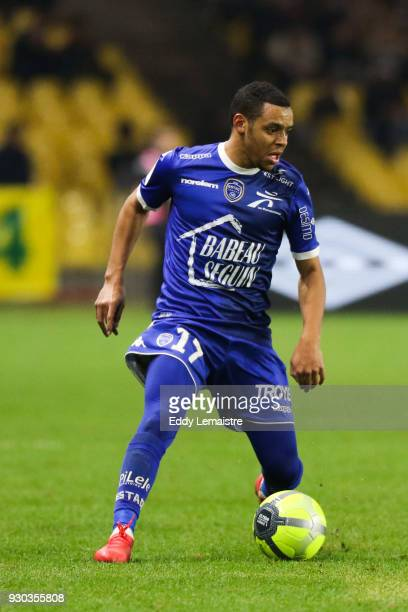 Johann Obiang of Troyes during the Ligue 1 match between Nantes and Troyes AC at Stade de la Beaujoire on March 10 2018 in Nantes