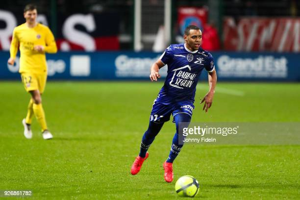 Johann Obiang of Troyes during the Ligue 1 match between Troyes AC and Paris Saint Germain at Stade de l'Aube on March 3 2018 in Troyes