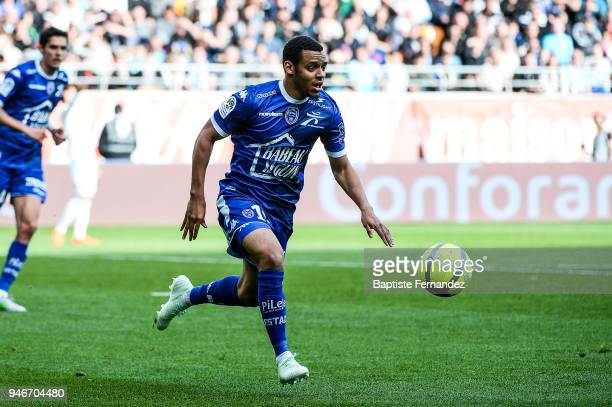 Johann Obiang of Troyes during the Ligue 1 match between Troyes Estac and Olympique de Marseille at Stade de l'Aube on April 15 2018 in Troyes