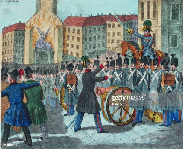 Johann Pollet an officer of the austrian army is refusing the order to shoot viennese civilians during the revolution of 1848 Coloured Lithographie...