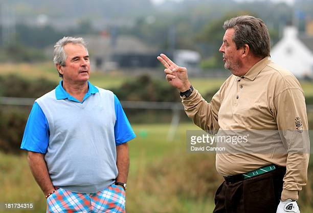 Johann Rupert the Chairman of Richemont and Allan Lamb during a practice round of the Alfred Dunhill Links Championship on The Old Course at St...