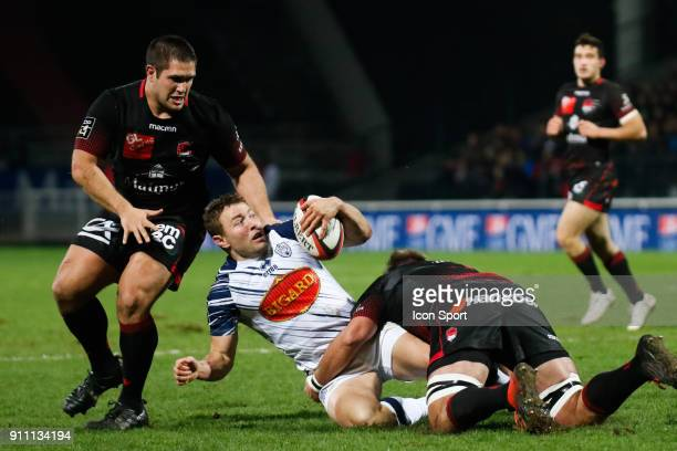 Johann Sadie of Agen and Hendrik Lambertus Roodt of Lyon and Francisco Gomez Kodela of Lyon during the Top 14 match between Lyon and Agen at Gerland...