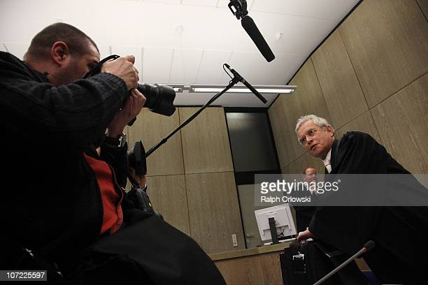 Johann Schwenn new lawyer of TV host and weather expert Joerg Kachelmann arrives for the beginning of day sixteen of the trial against Kachelmann on...