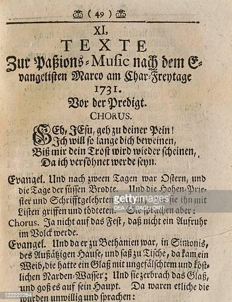 Johann Sebastian Bach Markuspassion BMW 247 Libretto by Picander pseudonym of Christian Friedrich Henrici