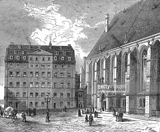 Johann Sebastian Bach's house at Leipzig Bach German Baroque composer Engraving