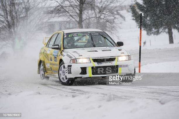 Johann Seiberl of Austria and Daniel Pirklbauer of Austria in theier Mitsubishi EVO VI during the Jaenner Rallye at Freistadt on January 3 2019 in...