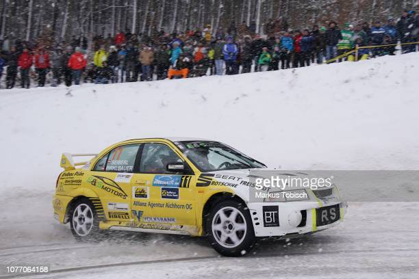 Johann Seiberl of Austria and Daniel Pirklbauer of Austria in theier Mitsubishi EVO VI during the Jaenner Rallye at Freistadt on January 4 2019 in...