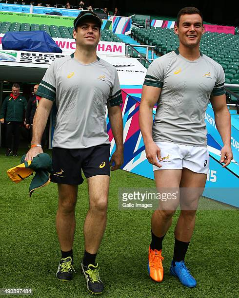 Johann van Graan of South Africa with Jesse Kriel during the South African national rugby team Captains Run at Twickenham Stadium on October 23 2015...