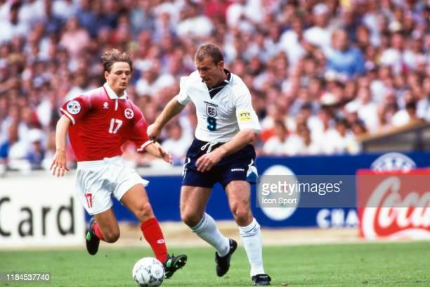 Johann Vogel of Switzerland and Alan Shearer of England during the European Championship match between England and Switzerland at Wembley Stadium...