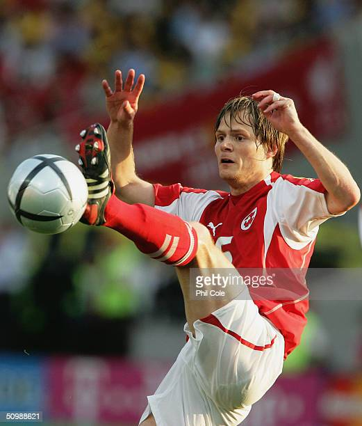 Johann Vogel of Switzerland controls the ball during the UEFA Euro 2004 Group B match between Switzerland and France at the Estadio Cidade de Coimbra...