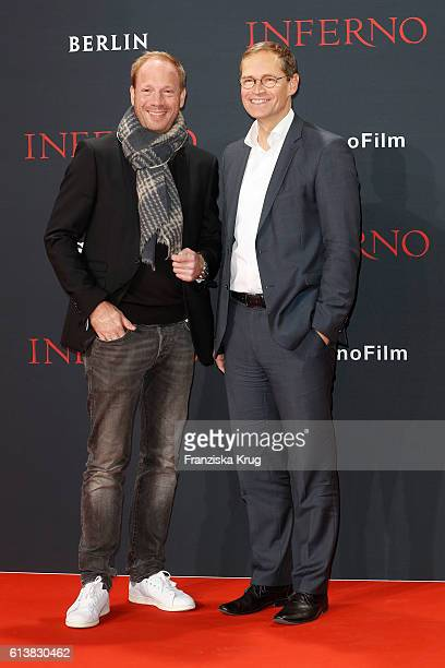 Johann von Buelow and Michael Mueller attend the German premiere of the film 'INFERNO' at Sony Centre on October 10, 2016 in Berlin, Germany.