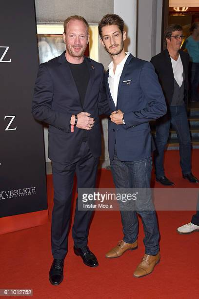 Johann von Buelow and Pierre Niney attend the 'FRANTZ' German Premiere at Delphi on September 28, 2016 in Berlin, Germany.