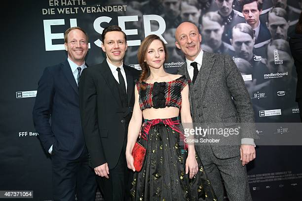 Johann von Buelow, Christian Friedel, Katharina Schuettler and director Oliver Hirschbiegel attend the German premiere of the film 'Elser' at Arri...