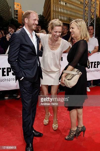 Johann von Buelow, Lisa Martinek and Eva Hassmann attend the First Steps Award 2011 at the Theater Am Potsdamer Platz on August 23, 2011 in Berlin,...