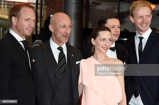 Johann von Buelow, Oliver Hirschbiegel and Katharina Schuettler attend the '13 Minutes' premiere during the 65th Berlinale International Film...