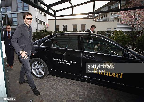 Johann von HaehlinLanzenauer arrives for a dinner host by Ruinart during the 47th Art Cologne art fair at Hotel Wasserturm on April 18 2013 in...