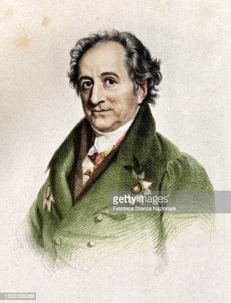 Johann Wolfgang von Goethe German writer, poet and playwright. Engraving by Thomas Wright from a painting by George Dawe , United Kingdom, approx....