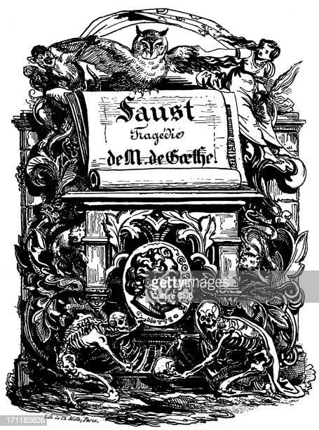Johann Wolfgang von Goethe title page for the German poet and thinker's tragedy 'Faust' Lithograph by the French Romantic painter Ferdinand Victor...