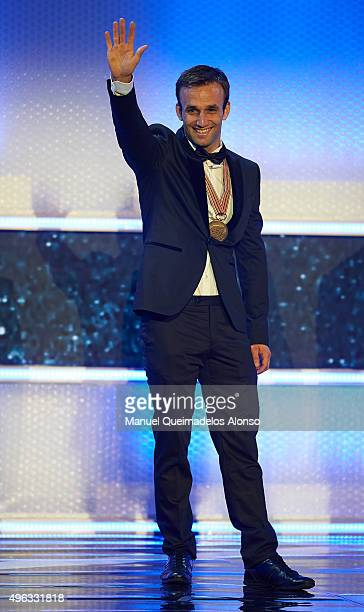 Johann Zarco of France and AJO Motorsport celebrates during the 2015 FIM MotoGP Awards Ceremony at Fira de Valencia on November 8 2015 in Valencia...