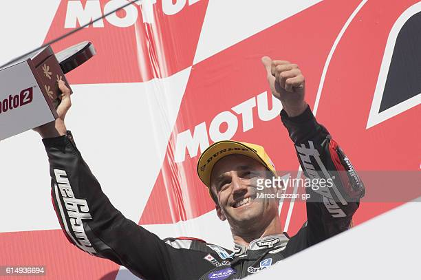Johann Zarco of France and Ajo Motorsport celebrates the second place on the podium at the end of the Moto2 race during the MotoGP of Japan Race at...