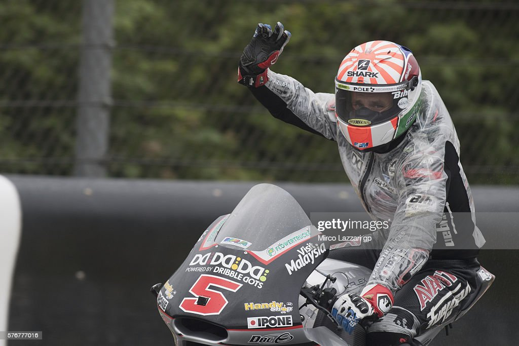 Johann Zarco of France and Ajo Motorsport celebrates the victory at the end of the Moto2 race during the MotoGp of Germany - Race at Sachsenring Circuit on July 17, 2016 in Hohenstein-Ernstthal, Germany.