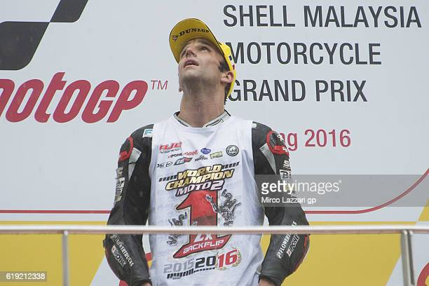Johann Zarco of France and Ajo Motorsport celebrates the victory on the podium and become the 2016 Moto2 Champion at the end of the Moto2 race during...