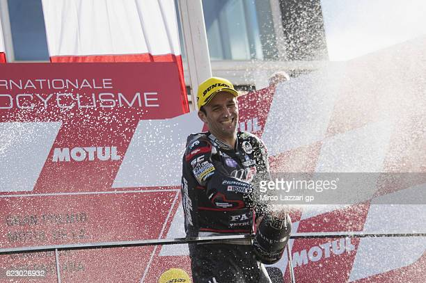 Johann Zarco of France and Ajo Motorsport celebrates the victory on the podium at the end of the Moto2 race during the MotoGP of Valencia Race at...