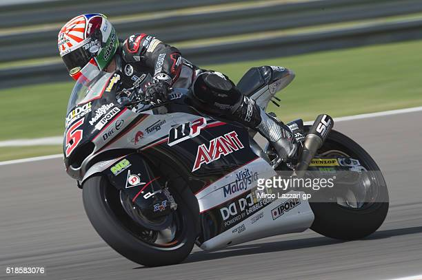 Johann Zarco of France and Ajo Motorsport heads down a straight during the MotoGp of Argentina Free Practice at Termas De Rio Hondo Circuit on April...