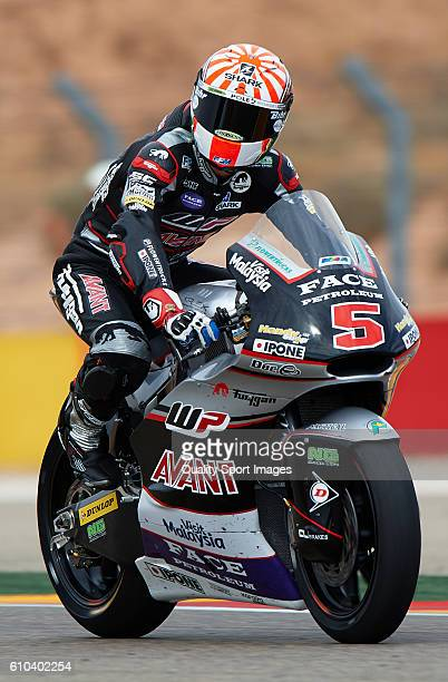 Johann Zarco of France and Ajo Motorsport in action during the moto2 race during the MotoGP of Spain Race at Motorland Aragon Circuit on September 25...