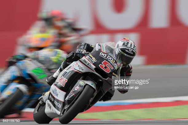 Johann Zarco of France and Ajo Motorsport leads the field during the Moto2 race during the MotoGP Netherlands Race at on June 26 2016 in Assen...