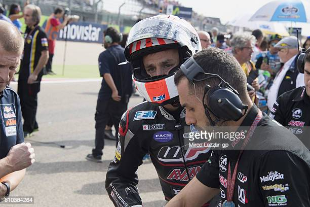 Johann Zarco of France and Ajo Motorsport prepares to start on the grid during the Moto2 race during the MotoGP of Spain Race at Motorland Aragon...