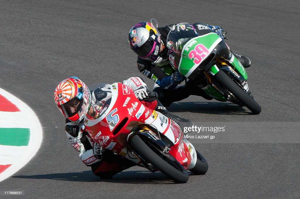 Johann Zarco of France and Avant Air Asia Ajo leads Luis Salom of Spain and RW Racing GP during the free practice of the MotoGP of Italy at Mugello Circuit on July 2, 2011 in Scarperia near Florence, Italy.