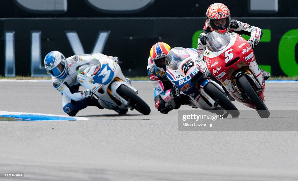 Johann Zarco of France and Avant Air Asia Ajo leads the field during the qualifying practice of MotoGP of Netherlands at TT Circuit Assen on June 24, 2011 in Assen, Netherlands.